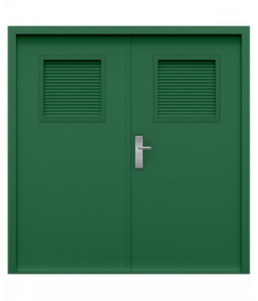 Leaf Green Steel Louvred Double Door (Security Double)