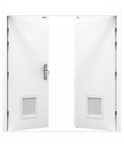 White Steel Louvred Double Door (Security Double)