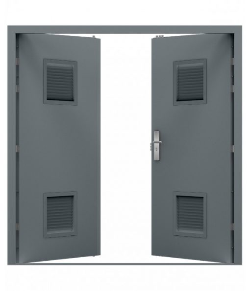 Grey Double Louvred Steel Door (Security Double)