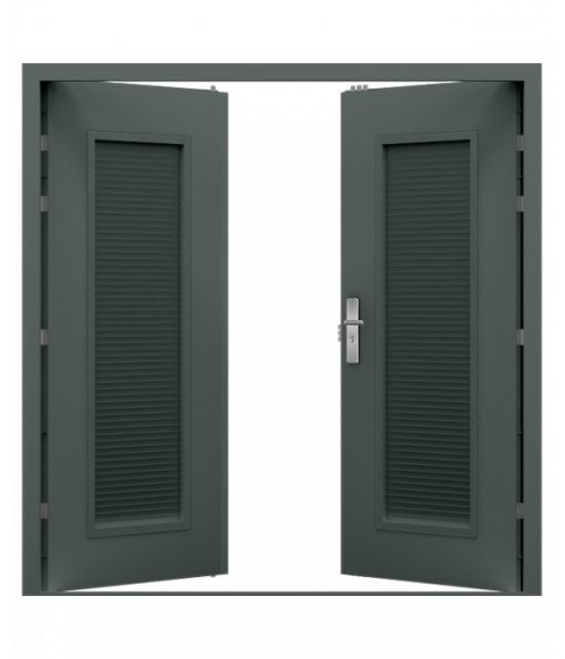 Grey Steel Louvred Double Door (Security Double)