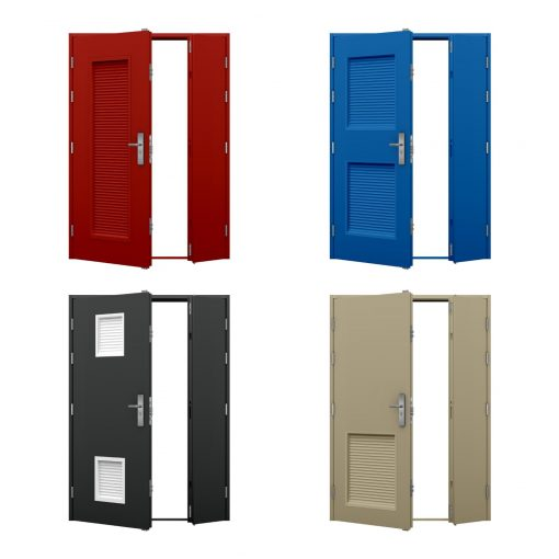 four leaf and a half louvred steel door examples