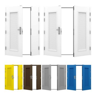 Double Steel Louvred Door shown in white, available in different colours