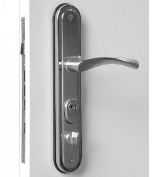 High security front door lever handles close up