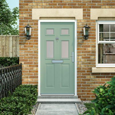 Glazed panelled steel door in chartwell green
