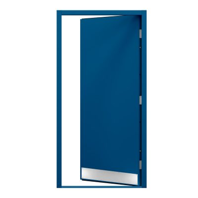 blue door with a kick plate to the bottom of the door