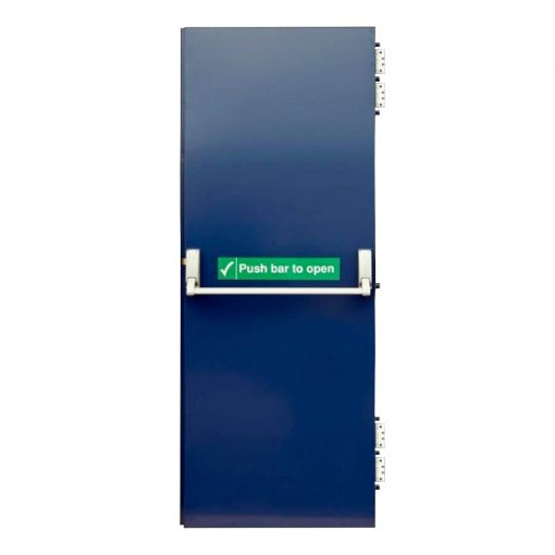 Blue single fire exit door showing push bar