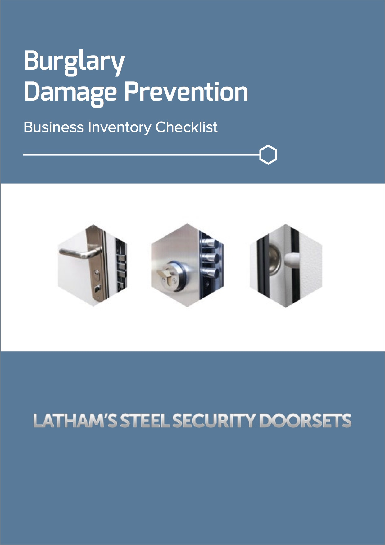 Burglary damage prevention checklist screenshot with three images showing a handle, bolts and dog bolt