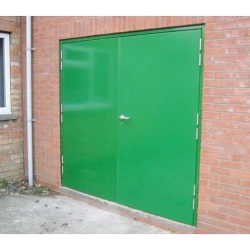 Custom Double Steel Door in Green with outer lever handle