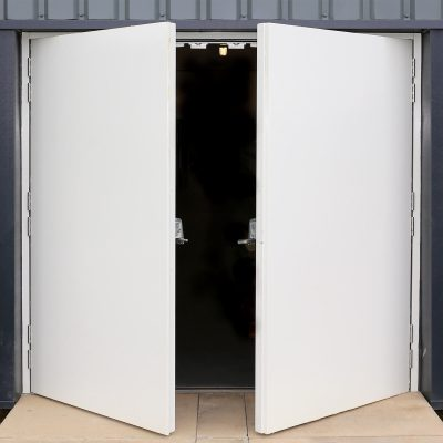 External view of a partially open double fire exit door