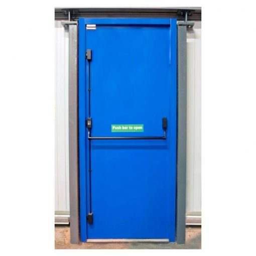 Blue fire exit door showing black push bar and push bar to open sticker