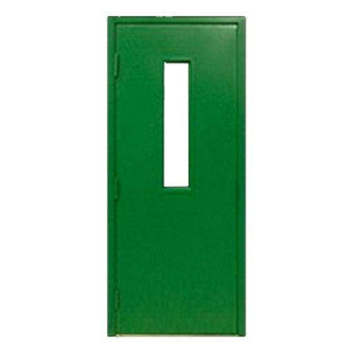 Green single fire exit door
