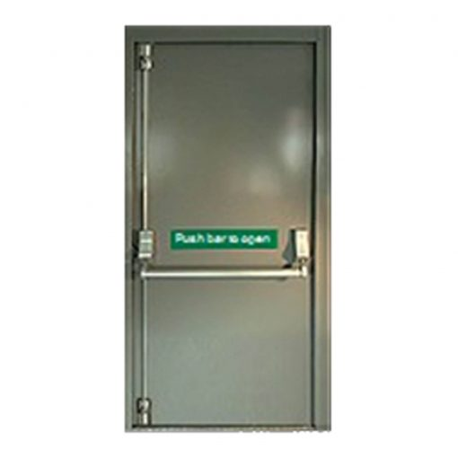 Steel fire exit door showing push bar and push bar to open sticker