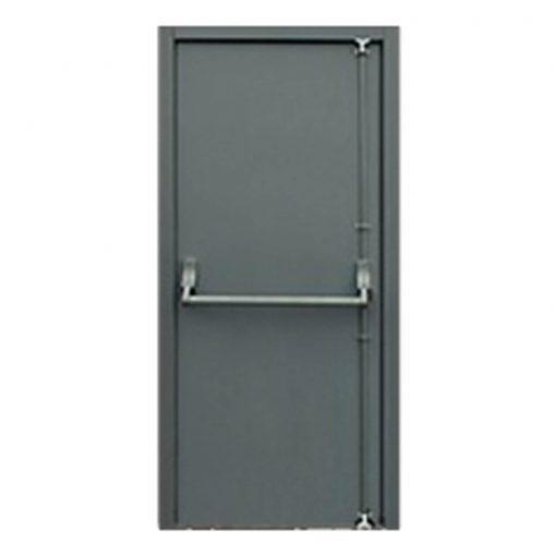 Grey steel emergency escape door showing push bar