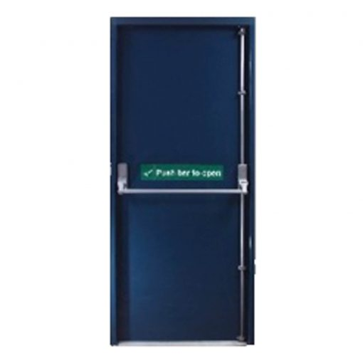 Dark blue fire exit door with push bar and push bar to open sticker