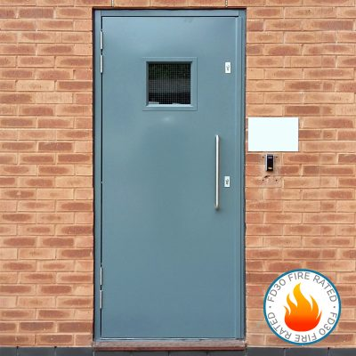 Single steel door with square glazing panel and D handle showing FD30 fire rated logo