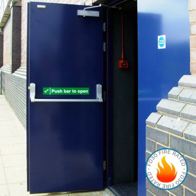 External view of an open blue fire exit door also showing FD30 fire rated logo