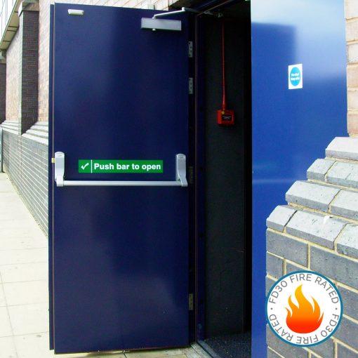 External view of an open blue fire exit door also showing FD30 fire rated logo