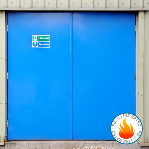 Blue fire rated double door with FD30 fire rated logo