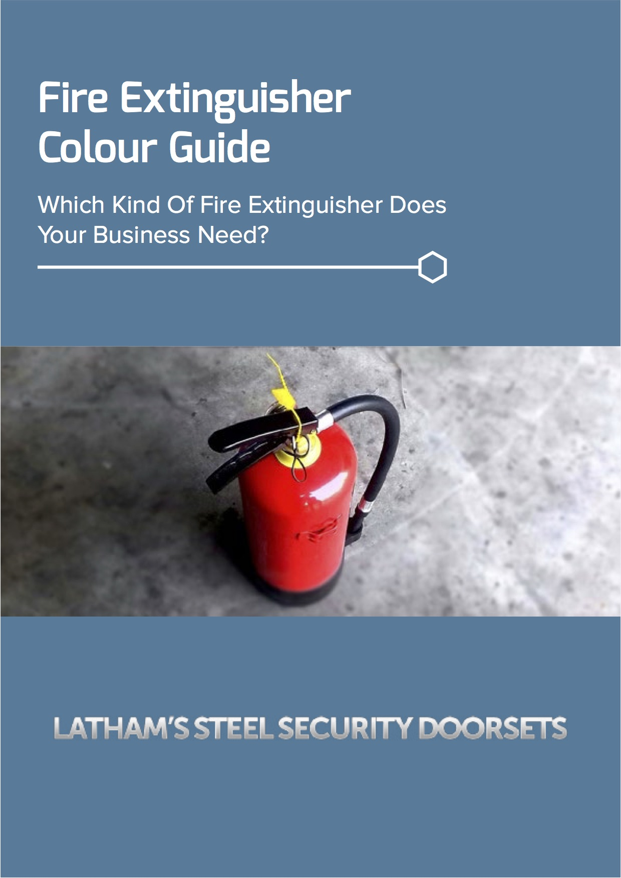 Fire extinguisher colour guide screenshot showing a red fire extinguisher