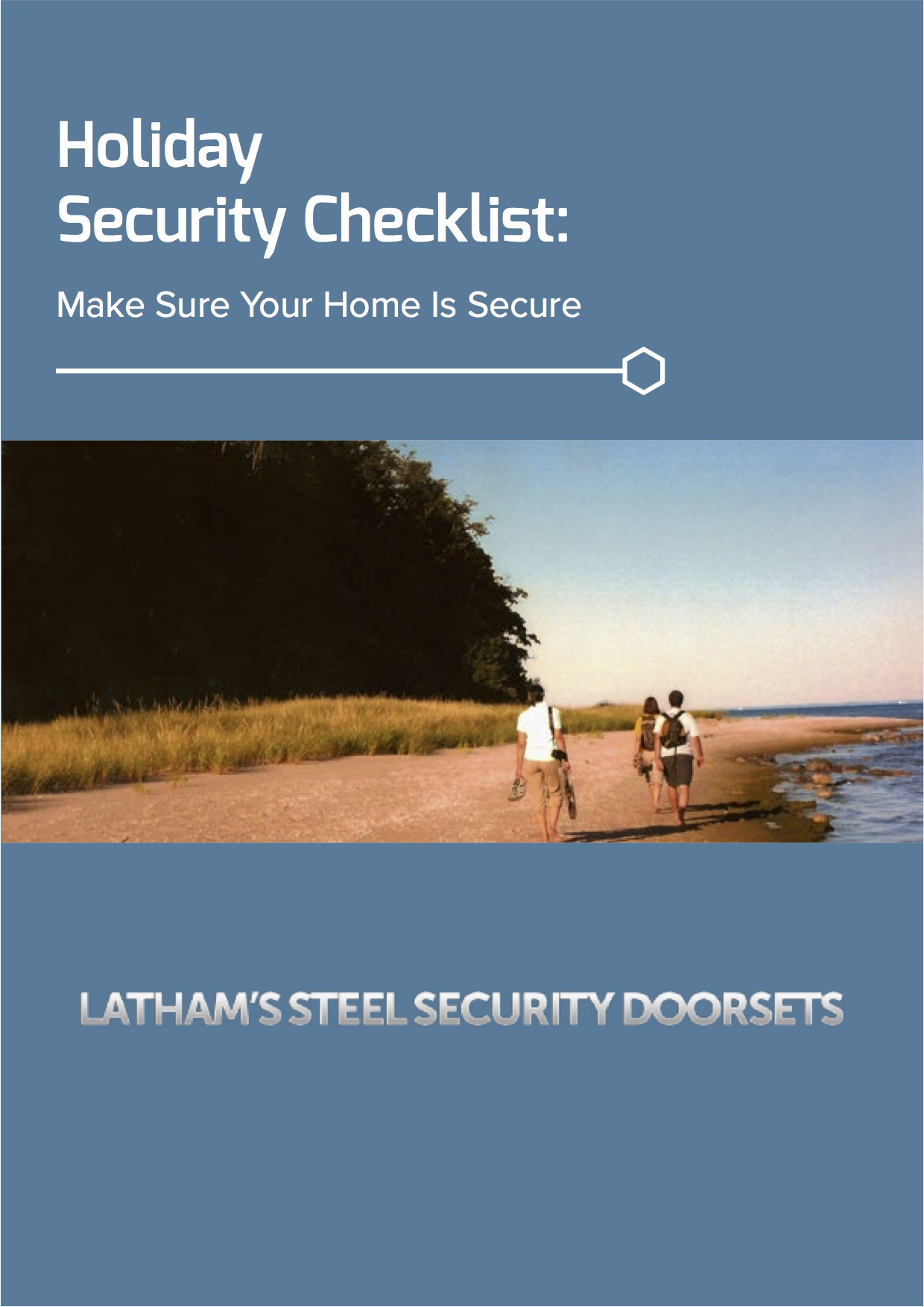 Holiday security checklist cover image with picture of people walking along a coast line