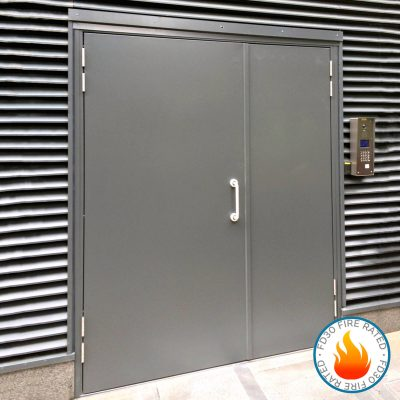 Grey double steel door showing fire rated logo