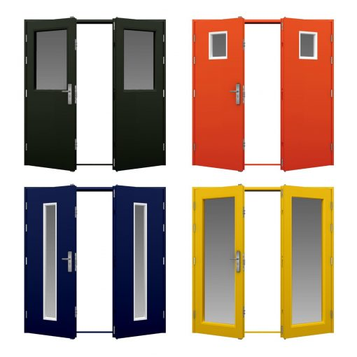 glazed double doors in four different colours
