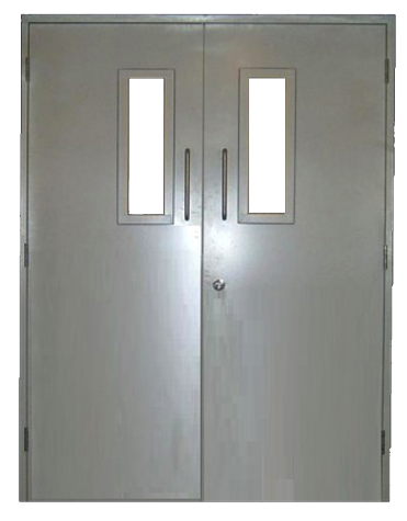 Double fire exit door with glazing panels and d handle