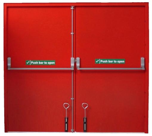 Internal view of red double fire exit door