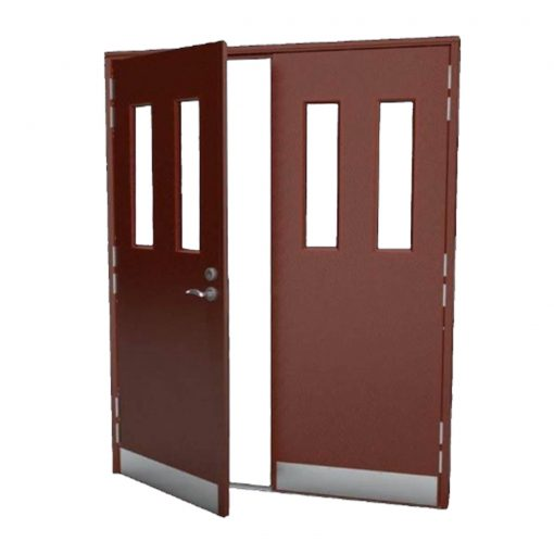 Custom Made Steel Fire Exit Door with Vision Panels and Kick Plate