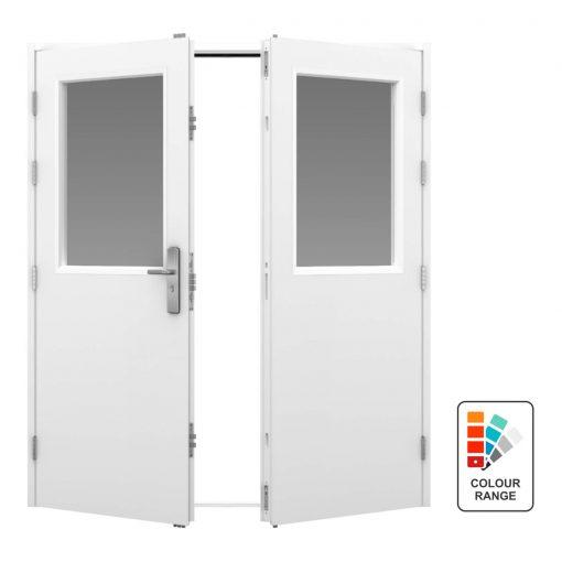 Glazed double steel door
