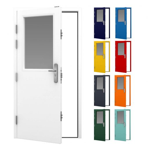 Glazed steel door in white with smaller versions showing some colour options
