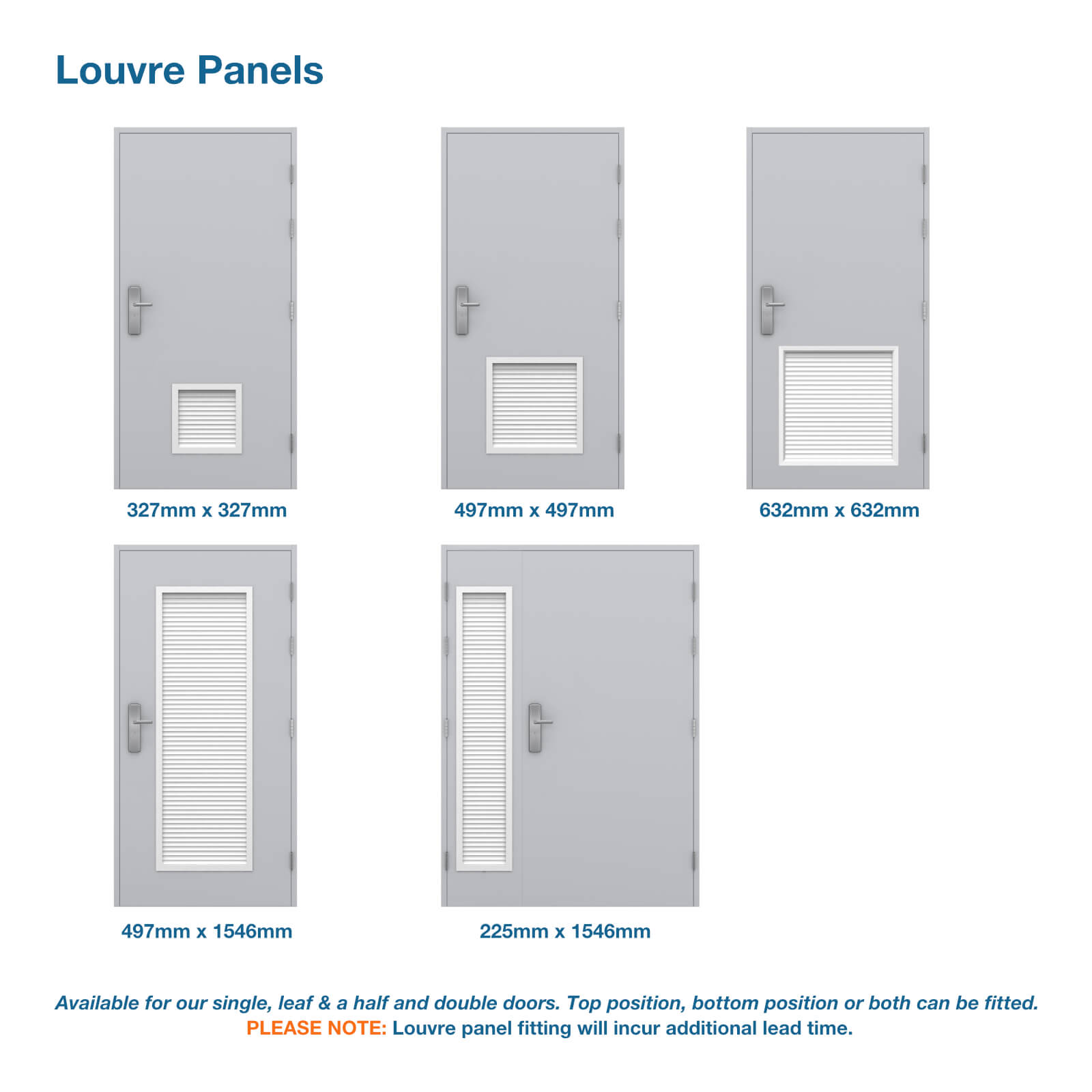 Single steel door louvre panel options