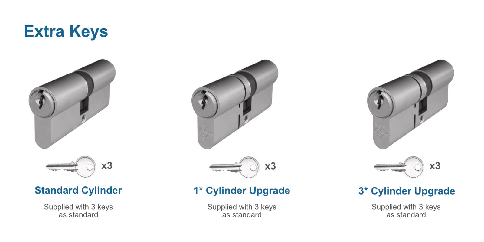 Standard issue cylinder with 5 keys and security upgrade cylinder with 3 keys