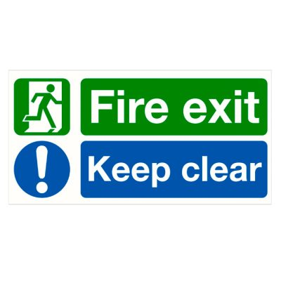 Fire exit keep clear sticker for fire exit doors