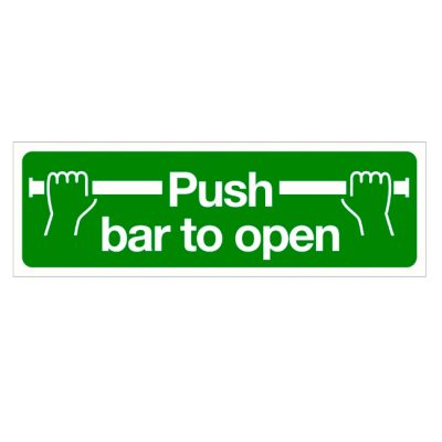 Push bar to open sticker