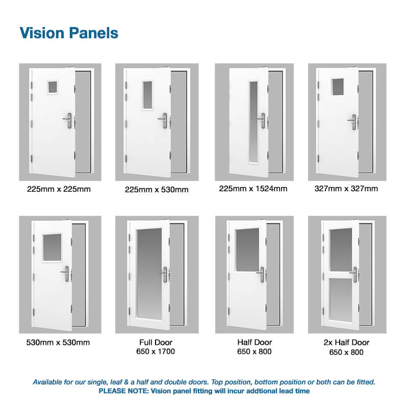 Steel door vision panel options