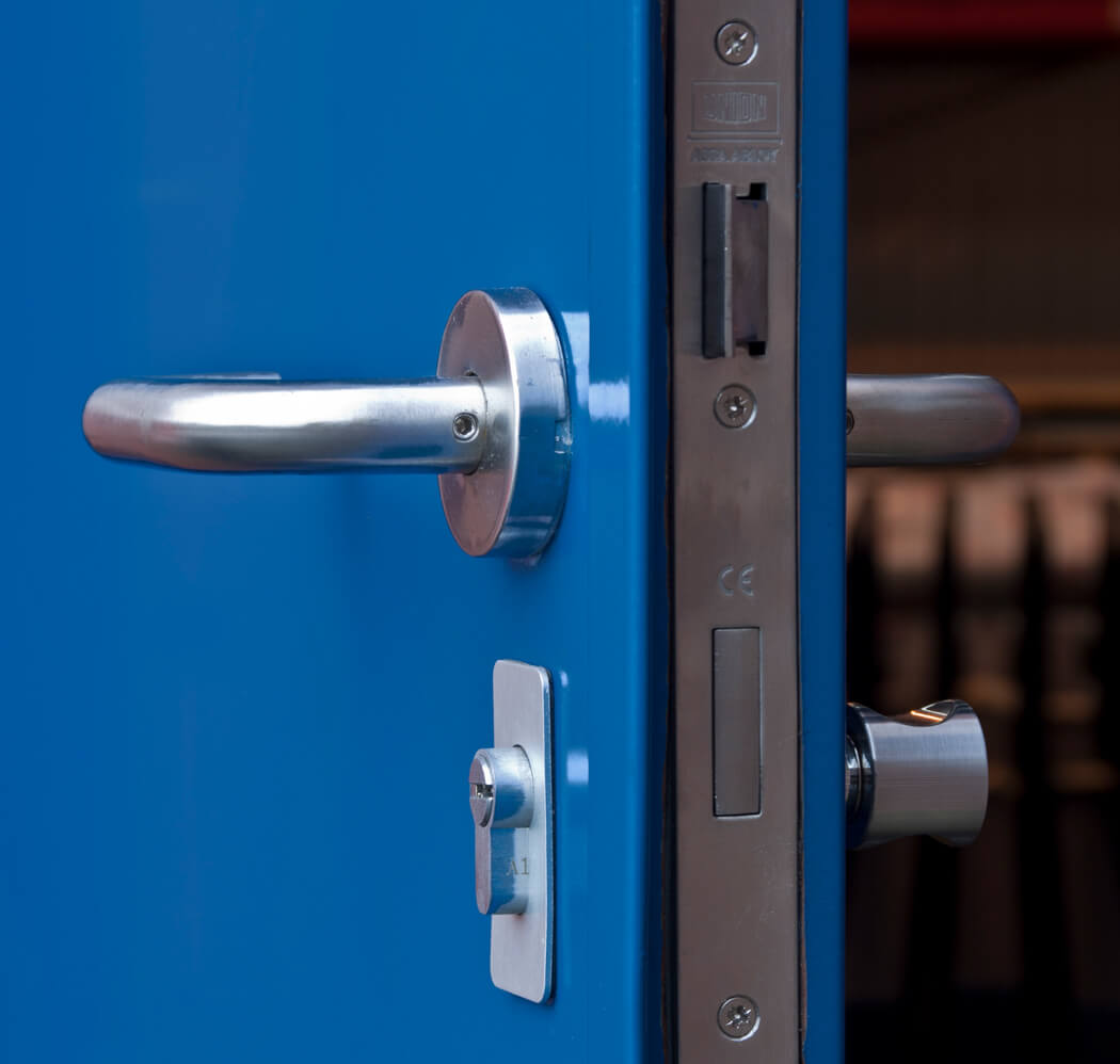 Close up of custom made steel door lock and handle, for category image.