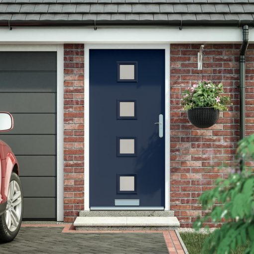 glazed front door installed in a house