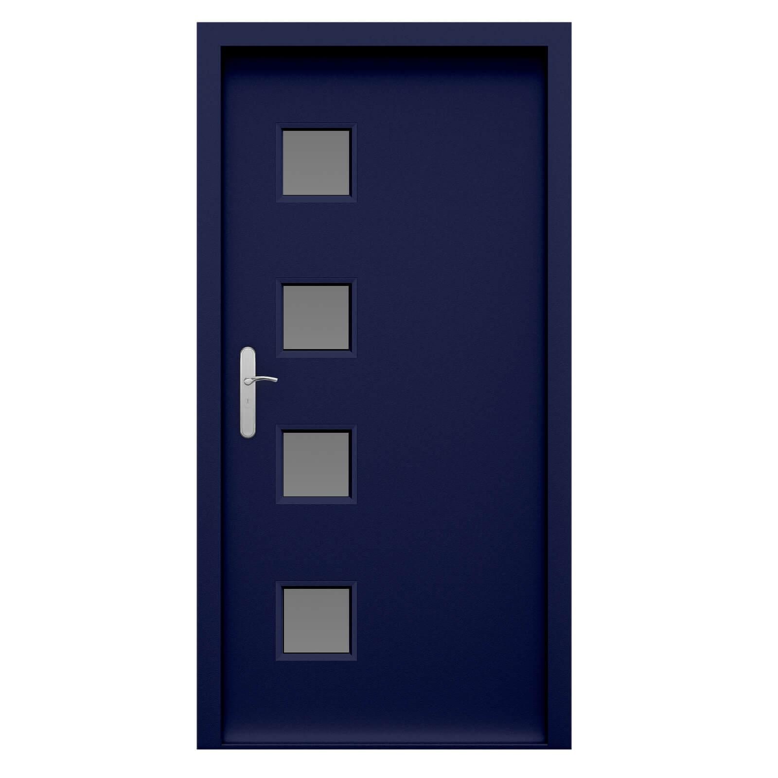 Security Steel Front Door With 4 Diamond 4 Square Glazing Panels In  Ultramarine Blue