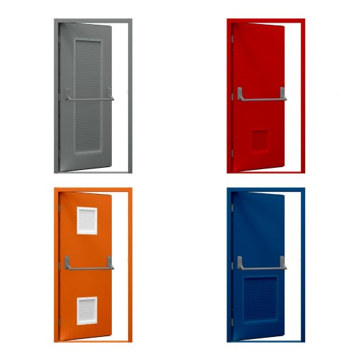 four examples of powder coated budget louvred doors