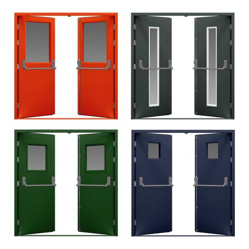 four double doors in colours with glazing