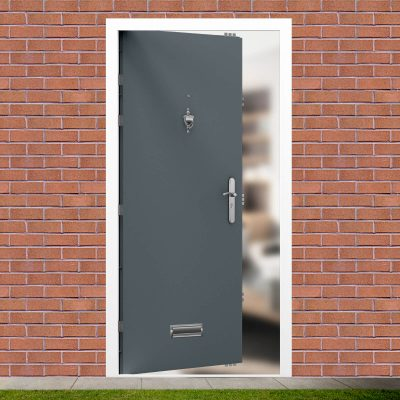 Flush Design Merlin Grey Steel Security Front Door
