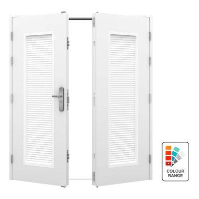 double door with louvre panel in each door leaf