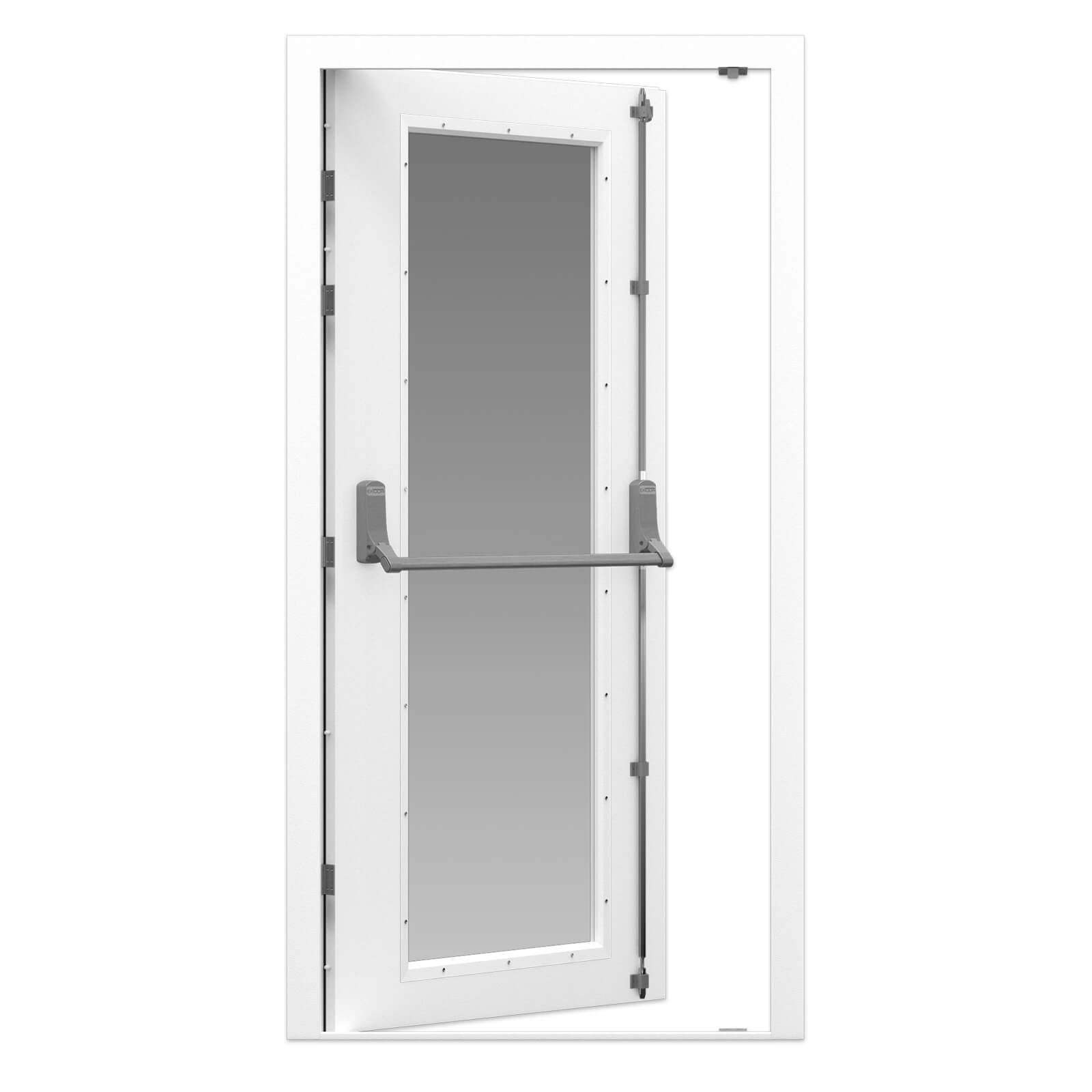 Glazed Fire Exit Door In White With Full Vision Panel