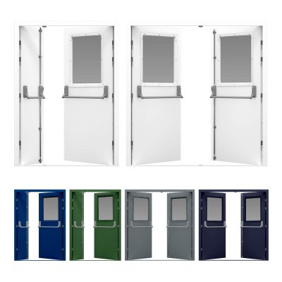 Glazed double fire exit door with Exidor panic bar