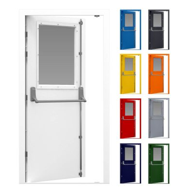 Glazed fire exit door with security Exidor panic bar