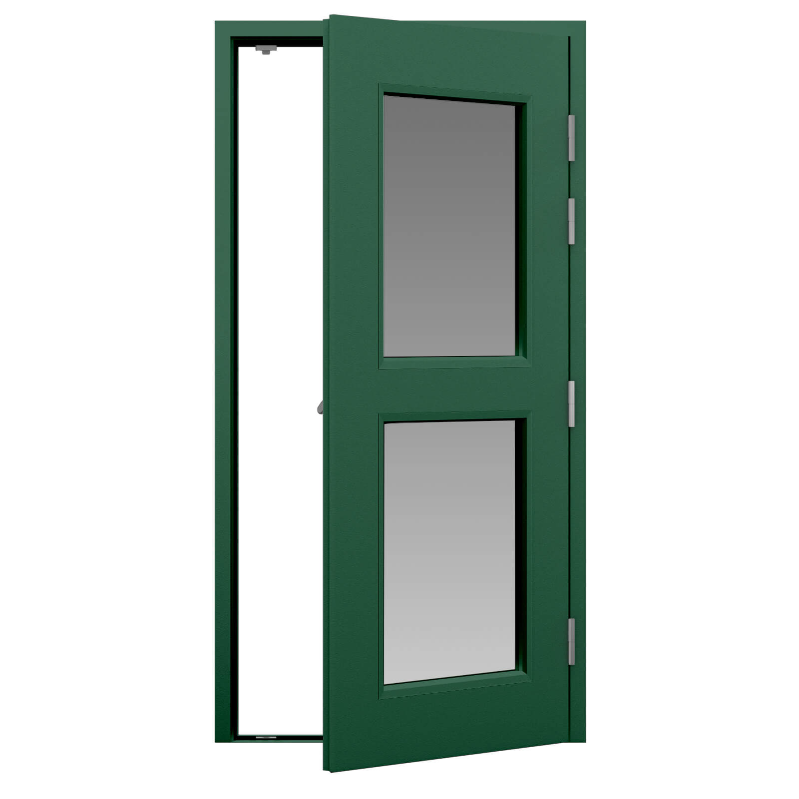 Green glazed fire exit door with 2 x half vision panels  sc 1 st  Lathamu0027s Steel Doors & Glazed Fire Exit Door (Security) | Lathamu0027s Steel Doors