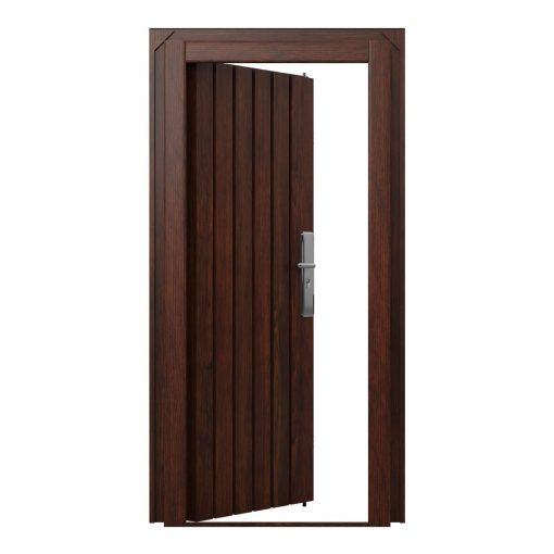 Knightsbridge elite steel door finished in Jacobean Oak effect