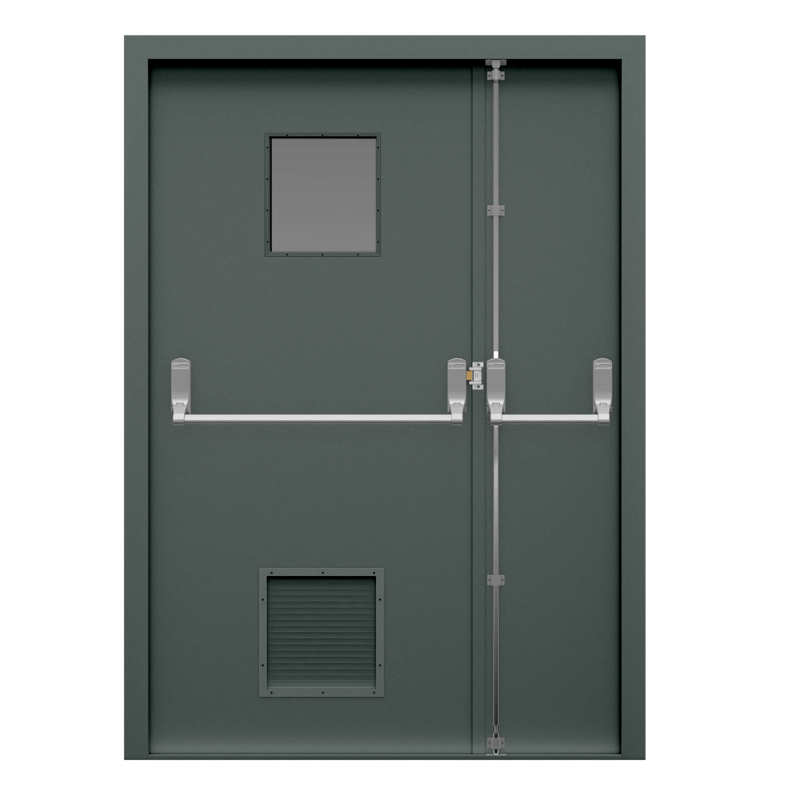 Grey louvred fire exit door with glazed panel  sc 1 st  Lathamu0027s Steel Doors & Louvred Double Fire Exit Door | Lathamu0027s Steel Doors