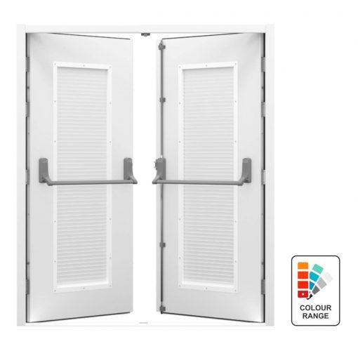 Double louvred steel fire exit door